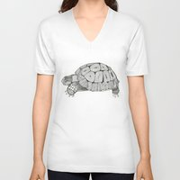tortoise V-neck T-shirts featuring Tortoise by Carissa Tanton