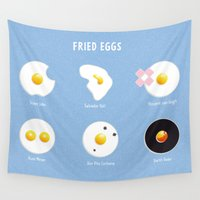 eggs Wall Tapestries featuring Fried eggs by Clemens Hellmund