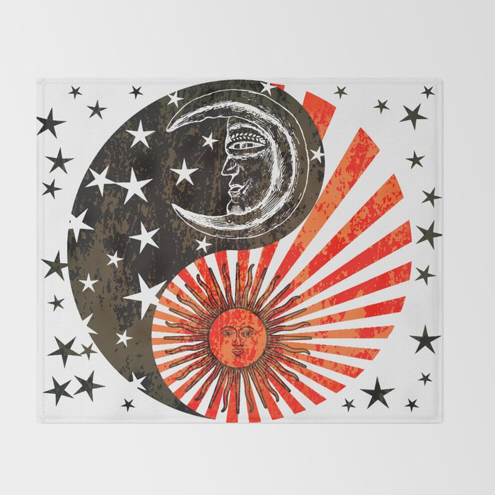 Sun Moon Stars Yin Yang Distressed Red Black Design Throw