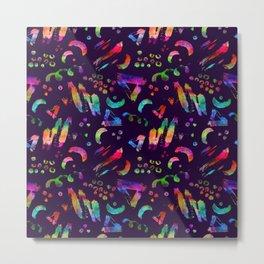Rainbow watercolor strokes and dots. Metal Print