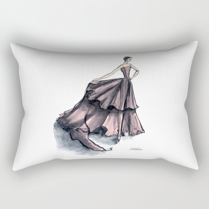 Audrey Hepburn in Pink dress vintage fashion Rectangular Pillow