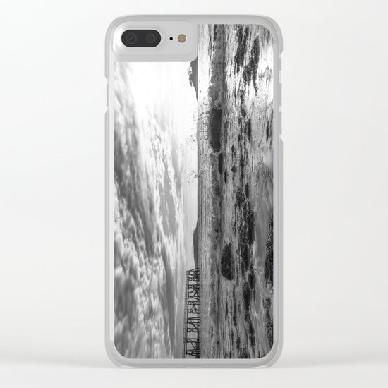 Magnolia Pier Black and White Clear iPhone Case