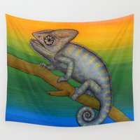 chameleon Wall Tapestries featuring Chameleon (2) by Amy Fan