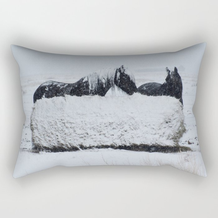A horses snow day Rectangular Pillow