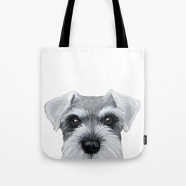 Schnauzer Grey&white, Dog illustration original painting print Tote Bag