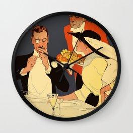 Berlin retro 1920 Plakatstil Fledermaus wine restaurant advertisement Wall Clock