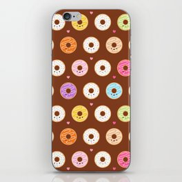 Kawaii Donuts Pattern on Brown iPhone Skin