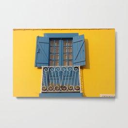 Yellow Blue House in Aveiro, Portugal Metal Print