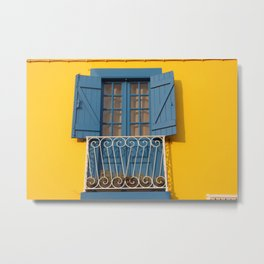 Yellow Blue House in Aveiro, Portugal Metal Print