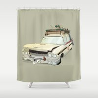 ghostbusters Shower Curtains featuring 80´s tv and films cars (ghostbusters) by monocefalus