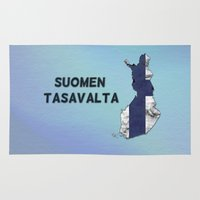 finland Area & Throw Rugs featuring Finland / Suomen Tasavalta by Dandy Octopus