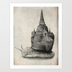 The Snail's Dream (monochrome option) Art Print