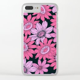 Retro Pink Flowers w/Black Background Clear iPhone Case