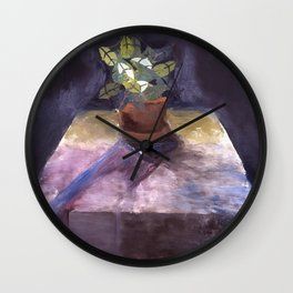 Plant on Table Wall Clock
