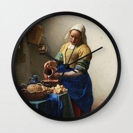 Milkmaid by Johannes Vermeer Wall Clock