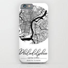 Philadelphia Area City Map, Philadelphia Circle City Maps Print, Philadelphia Black Water City Maps iPhone Case
