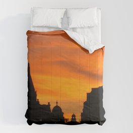 London Sunset in sillouette bywhacky Comforters