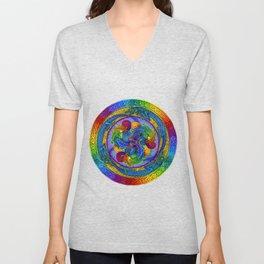 Psychedelic Dragons Rainbow Spirals Mandala Unisex V-Neck