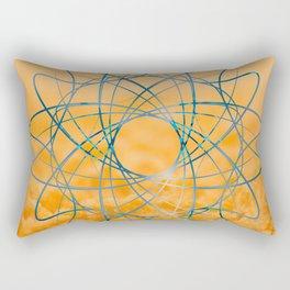 Blue abstract shape in orange bakcground Rectangular Pillow