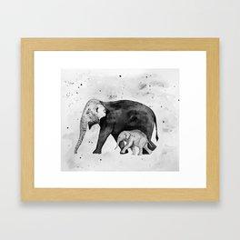 Family of elephants, black and white Framed Art Print