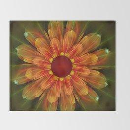 Artistic fantasy succulent flower Throw Blanket