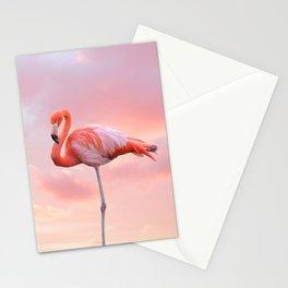 Pink Flamingo Sunset Stationery Cards
