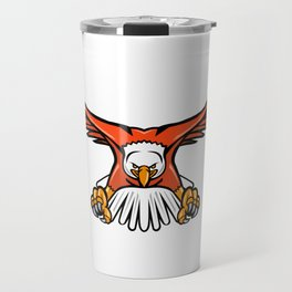 Bald Eagle Swooping Front Mascot Travel Mug