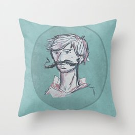 Mustache Man Throw Pillow