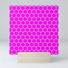 Honeycomb (White & Magenta Pattern) Mini Art Print