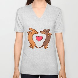 Cute cartoon dachshunds in love Unisex V-Neck