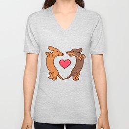 Cute cartoon dachshunds in love Unisex V-Neck