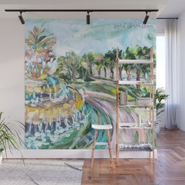 Charleston Pineapple Fountain Wall Mural