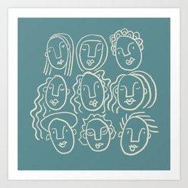 Nine faces (teal palette) Art Print