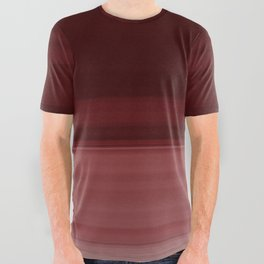 Ruby Red Ombre Stripe Design All Over Graphic Tee