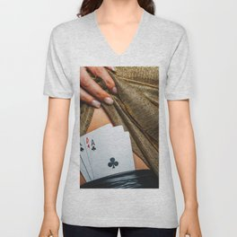 Sexy lady in golden color dress with poker cards combination over black stocking legs Unisex V-Neck
