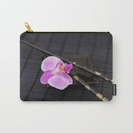 Zen pink Orchid flower on black Carry-All Pouch