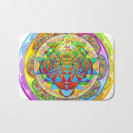 Inner Strength Psychedelic Tiger Sri Yantra Mandala Bath Mat