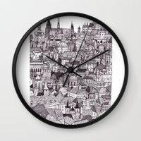prague Wall Clocks featuring Prague by Justine Lecouffe