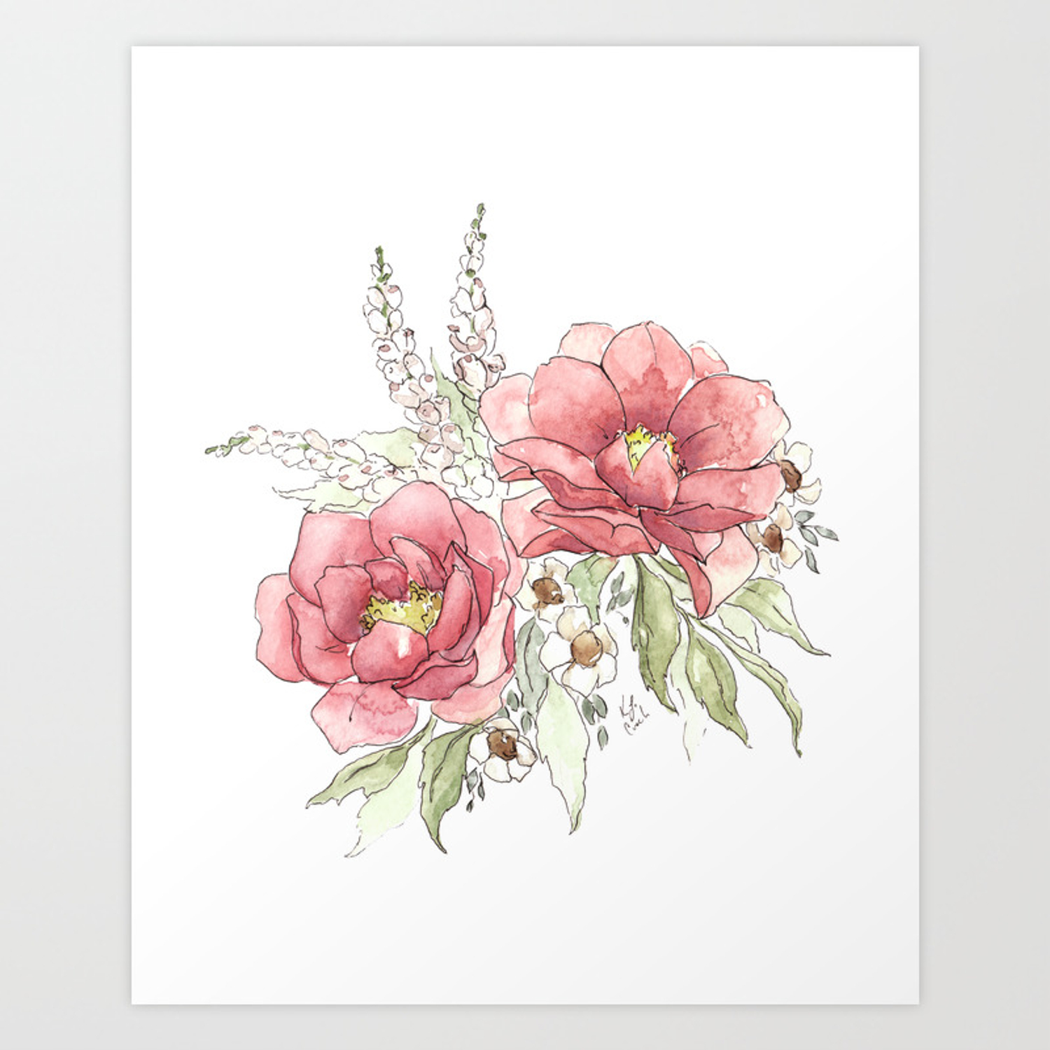 Watercolor Flowers Garden Roses Art Print By Katrinacrouch Society6