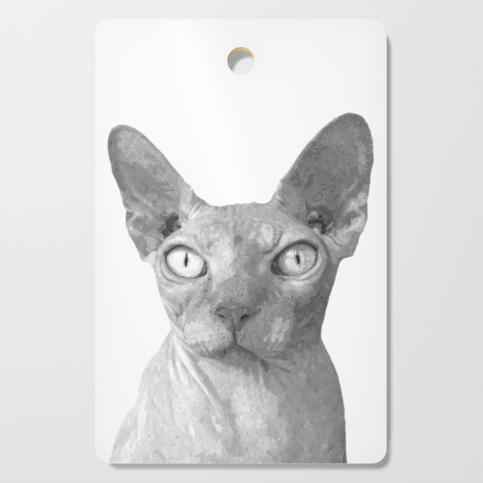 Black and White Sphynx Cat Cutting Board