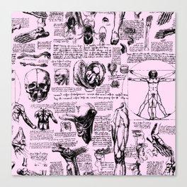 Da Vinci's Anatomy Sketchbook // Light Pink Canvas Print