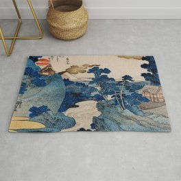Cottages On Cliffs Traditional Japanese Landscape Rug