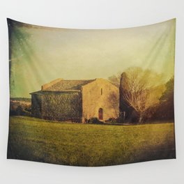 A cute small stone house without windows Wall Tapestry
