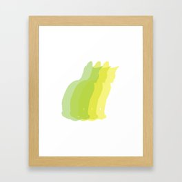 Multiple silhouette cat print - greens Framed Art Print