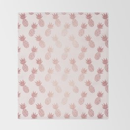 Rose Gold Pineapple Pattern Throw Blanket