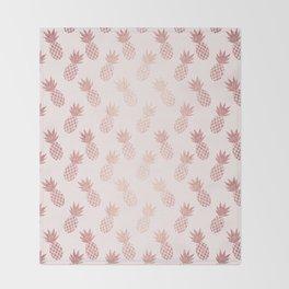 Rose Gold Pineapple Pattern Throw Blanket