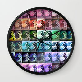 The Dancer Colorful Rainbow Collage Wall Clock