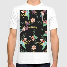 Floral pattern black White MEDIUM Mens Fitted Tee