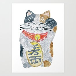 Watercolor Maneki Neko / Lucky Cat Art Print