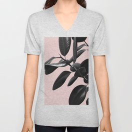 Ficus Elastica Blush Black & White Vibes #1 #foliage #decor #art #society6 Unisex V-Neck